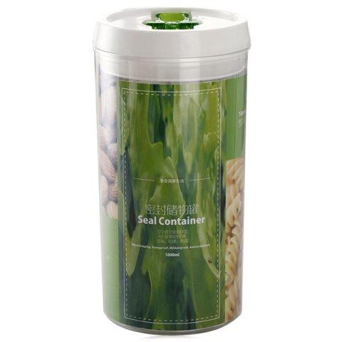 Contacted Easy Lock Kitchen Cylinderical Seal Container Food Storage Airtight Canister - TRANSPARENT