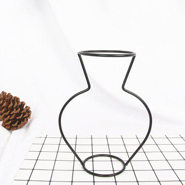 Creative Simple Iron Mini Flower Frame Vase Decoration - BLACK 15 X 6.5 X 20CM