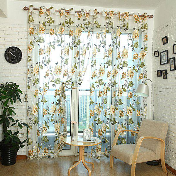 Flower Pattern Window Screen Sheer Curtain with Stick Holes - CREAM