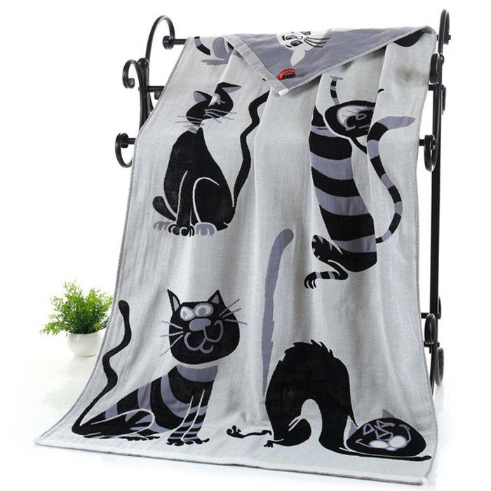 Triple Pure Cotton Bath Towel with Cartoon Pet - GRAY