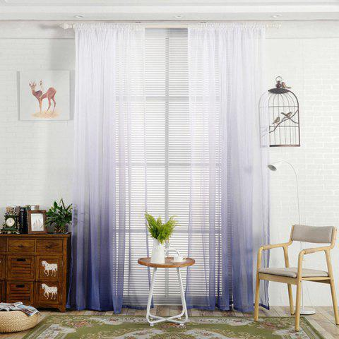 Color-gradient Pattern Window Screen Sheer Curtain - BLUE GRAY
