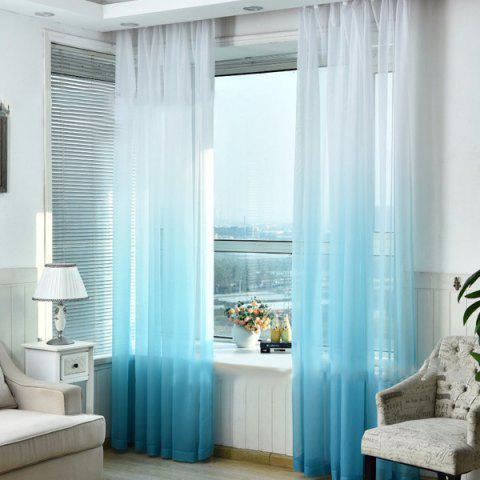 Color-gradient Pattern Window Screen Sheer Curtain - LIGHT SKY BLUE
