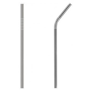 Stainless Steel Straws Set Multi-colored Reusable Cleaning Brush 10PCS - SILVER