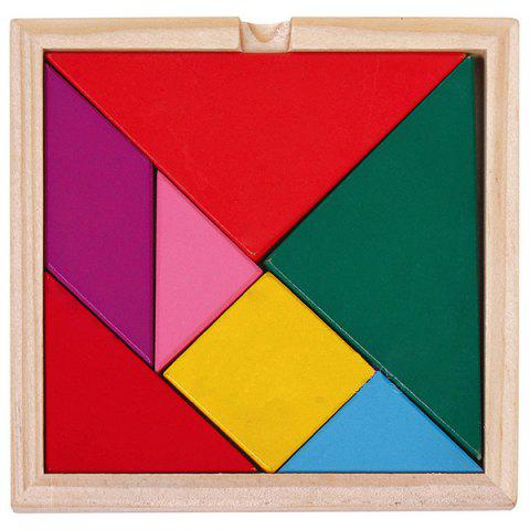Educational Colorful Wooden Tangram Puzzle Toy Set - multicolor