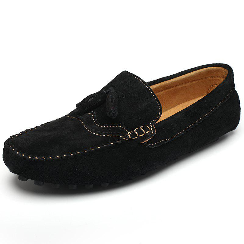 Men Round Frizzled Leather Slip-on Breathable Casual Shoes - BLACK 44