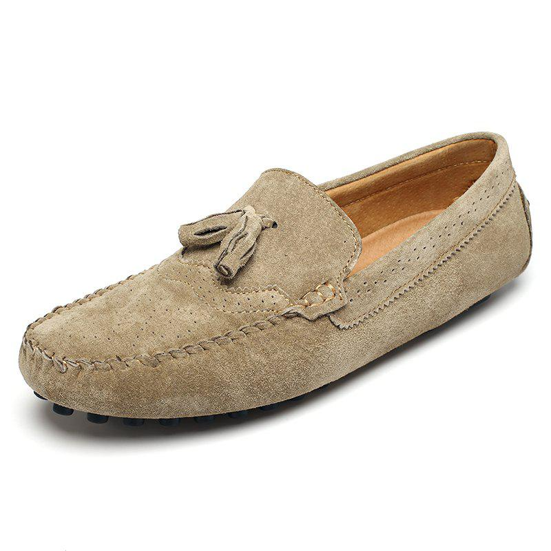 Men Round Frizzled Leather Slip-on Breathable Casual Shoes - LIGHT KHAKI 44