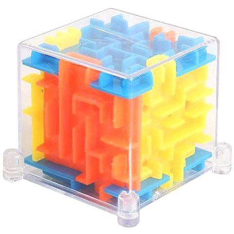 Labyrinth Cube Transparent 3D Maze Ball Toy - multicolor