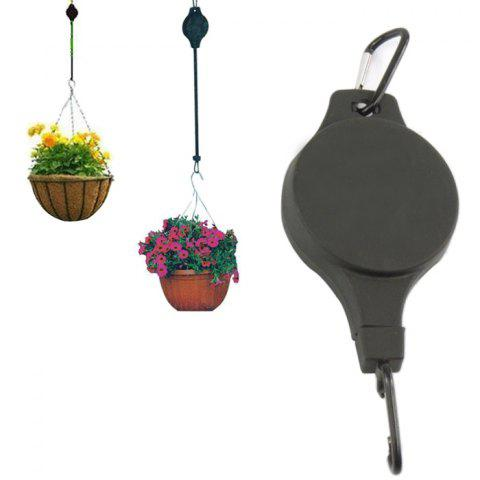Hanging Basket Pull Down Hanger Pulley Plant Pots Hanging Basin with Retractable Hook - BLACK