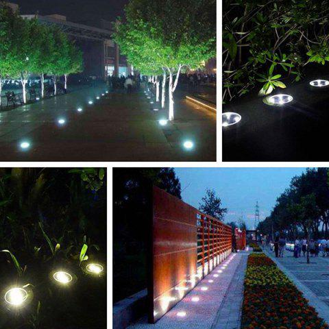 8 LED Solar Power Ground Light Outdoor Garden Lawn Lamp - SILVER WARM LIGHT