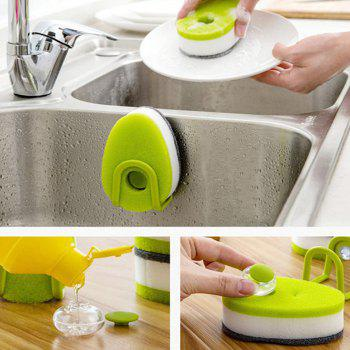 Double-faced Sponge Brush with Holder Soap Capsule for Kitchen Bathroom Cleaning 3PCs - FROG GREEN