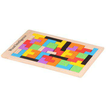 Intelligence Educational Toy Wooden Puzzle Colorful Wood Intelligence Building Blocks for Kids - multicolor