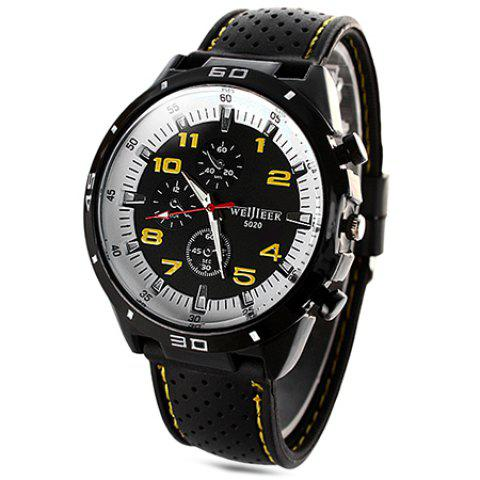 Weijieer 5020 Male Quartz Watch Round Dial Rubber Strap Non-functioning Sub-dials - YELLOW