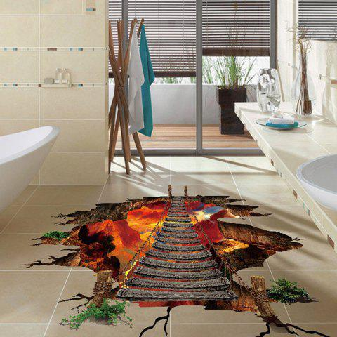 3D Effect PVC Volcanic Pattern Removable Floor Stickers - multicolor A