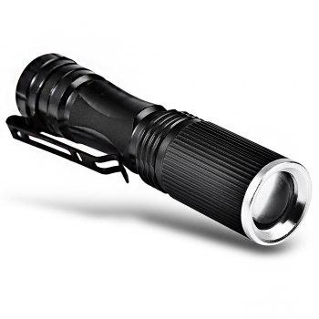 CREE XPE Q5 600Lm 14500 AA Zooming LED Flashlight - BLACK