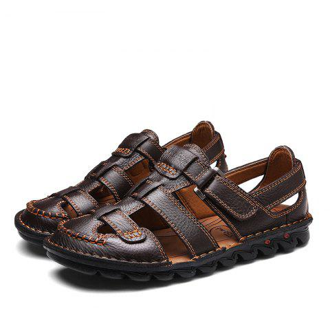 Men Fashion Round Toe Breathable Casual Sandals - BROWN 48