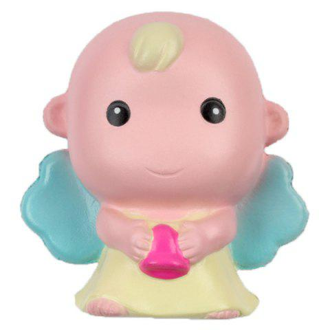 M012 PU Imitation Baldheaded Angel Squishy Toy Gift for Pressure Reducing - PIG PINK 1PC
