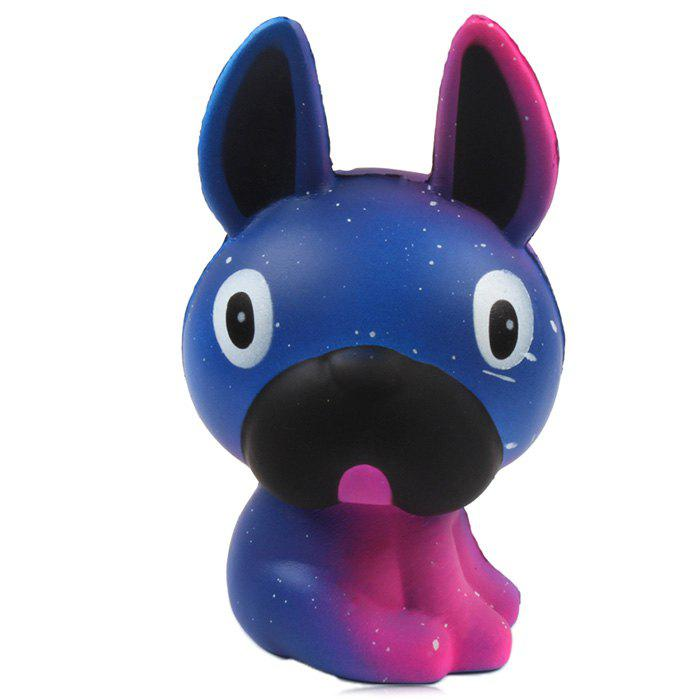 M003 PU Imitation Long Ear Dog Squishy Toy Gift for Pressure Reducing - NAVY BLUE 1PC