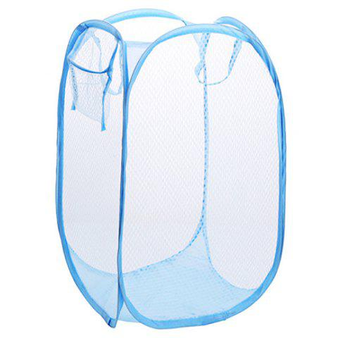Foldable Color Net Style Large Storage Basket for Clothes - SKY BLUE