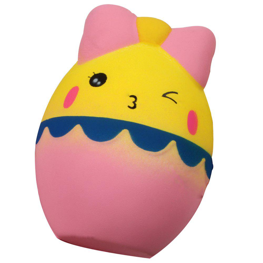M029 Jumbo Squishy Cartoon Egg with Bowknot PU Slow Rising Toy Relief Pressure Gift - CORN YELLOW