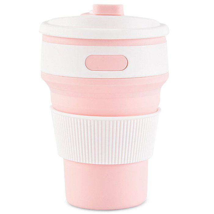 350ml Collapsible Silicone Water Bottle Portable Coffee Tea Mug Travel Hiking Drinkware - PINK BUBBLEGUM