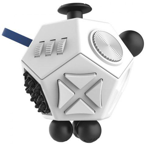 12-sided Magic Fidget Cube Desk Toy Anti Stress Relief Anxiety - WHITE