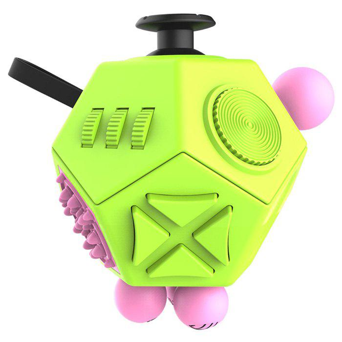 12-sided Magic Fidget Cube Desk Toy Anti Stress Relief Anxiety - GREEN YELLOW