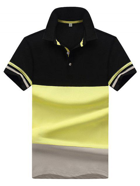 Stylish Contrast Color Soft Short Sleeve Turn-down Collar T-shirt for Men - YELLOW XL