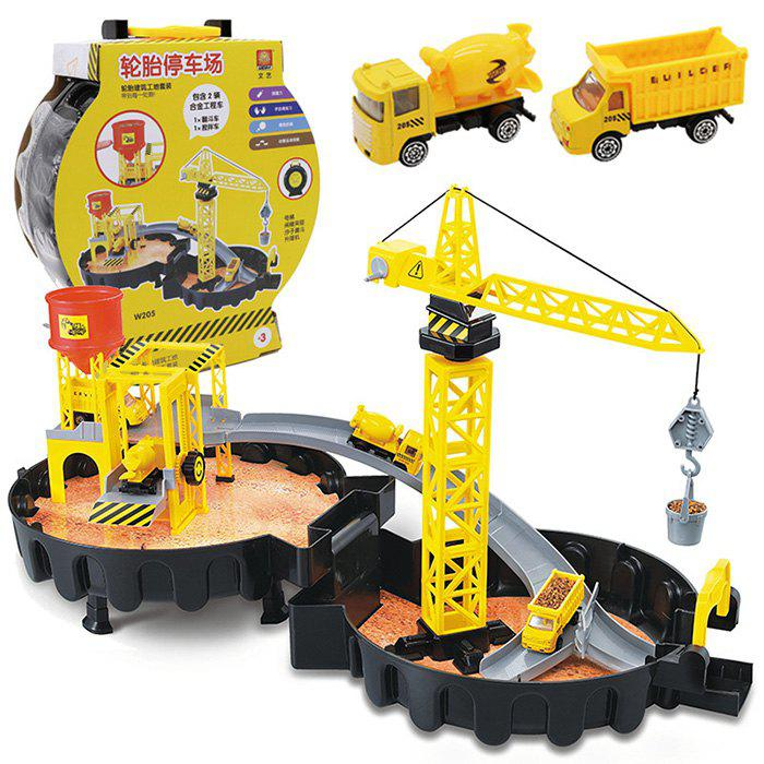 DIY Assembled Tires Construction Site Toy Model for Kids - YELLOW