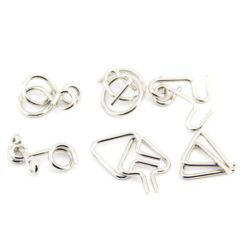 Educational Unlocking Metal Ring Puzzle Toys 6pcs - SILVER
