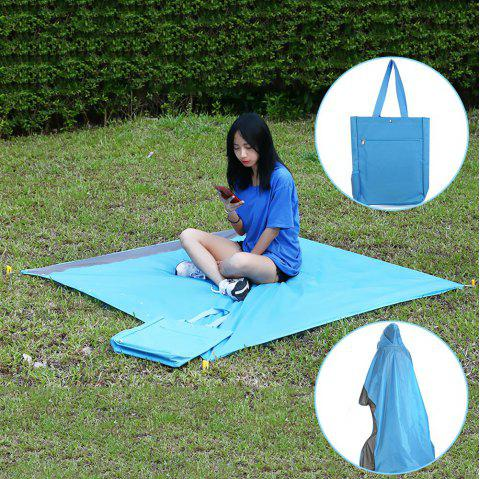 Outdoor Multifunctional Picnic Mat Waterproof Raincoat Storage Bag - DAY SKY BLUE