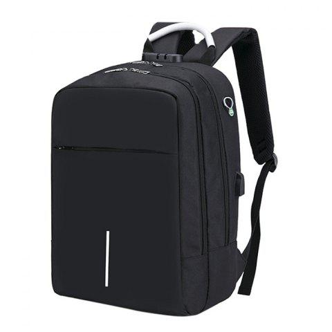 Large Capacity Burglar-proof Oxford Cloth Backpack with USB Charging Port - BLACK