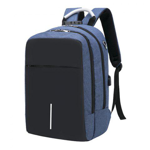 Large Capacity Burglar-proof Oxford Cloth Backpack with USB Charging Port - STEEL BLUE