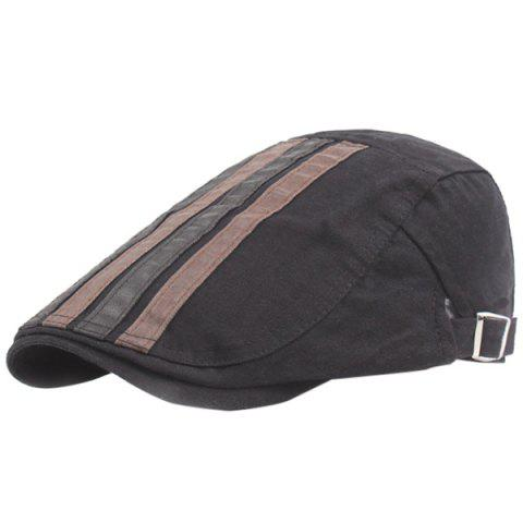 Outdoor Casual Breathable Cotton Visor Forward Hat Cap Beret for Men - BLACK
