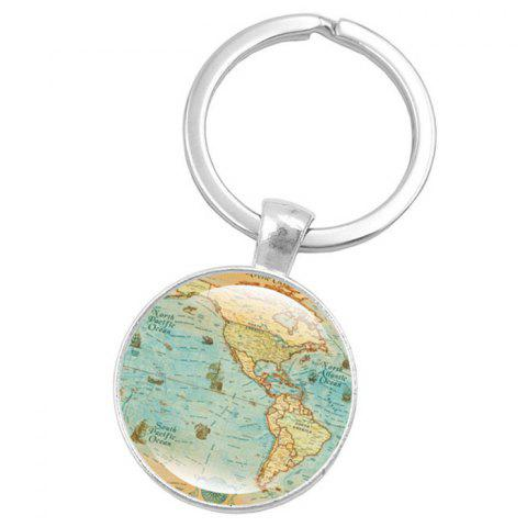 Map Style Key Chain Collection Gift Key Ring - multicolor B