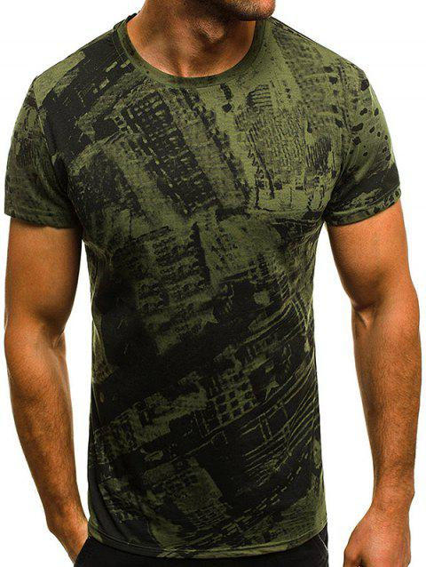 Printed Slim Short Sleeve Men Casual T-Shirt - FERN GREEN 3XL