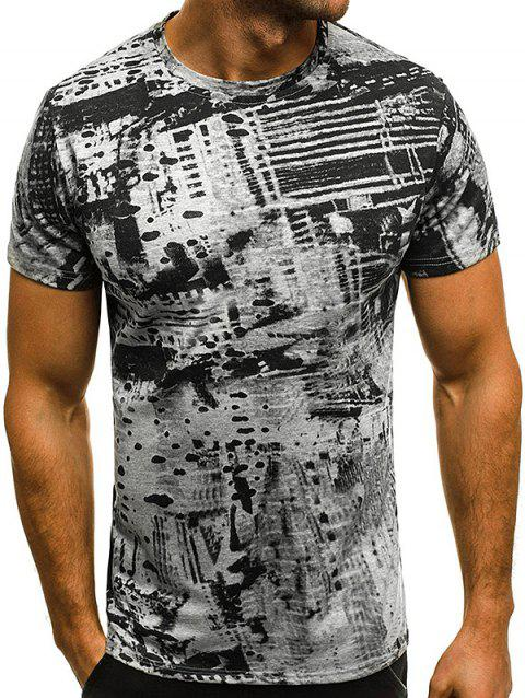 Printed Slim Short Sleeve Men Casual T-Shirt - GRAY XL