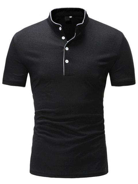 Casual Pure Color Stand Collar Short Sleeve T-shirt for Men - BLACK M