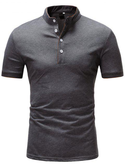Casual Pure Color Stand Collar Short Sleeve T-shirt for Men - GRAY L