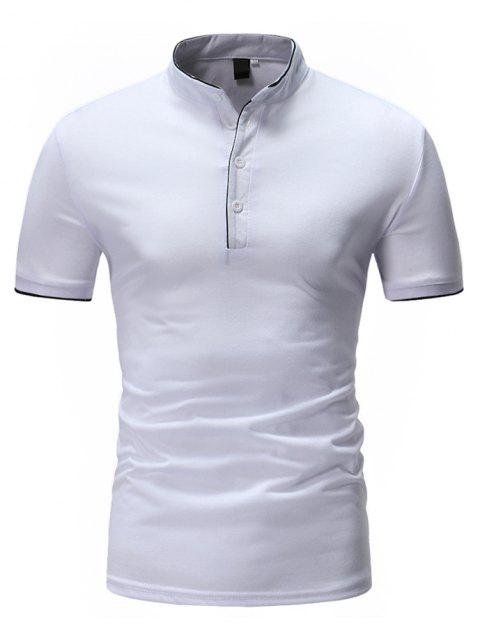 Casual Pure Color Stand Collar Short Sleeve T-shirt for Men - WHITE M
