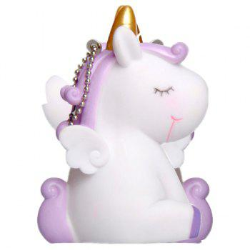 PVC Unicorn Shape Key Chain with Sound Collection Gift Key Ring - WHITE