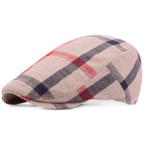 Grid Cotton Casual Breathable Outdoor Visor Forward Hat Cap Beret - LIGHT KHAKI