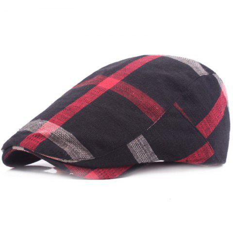 Grid Cotton Casual Breathable Outdoor Visor Forward Hat Cap Beret - BLACK