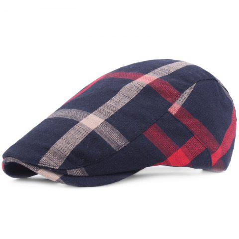 Grid Cotton Casual Breathable Outdoor Visor Forward Hat Cap Beret - CADETBLUE