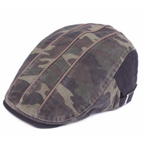 Camouflage Male Female Cap Outdoor Visor Washed Cotton Cloth Beret - BLACK