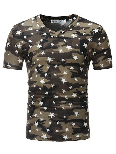 Stylish Cotton V-neck Short Sleeve T-shirt for Men - BLACK XL