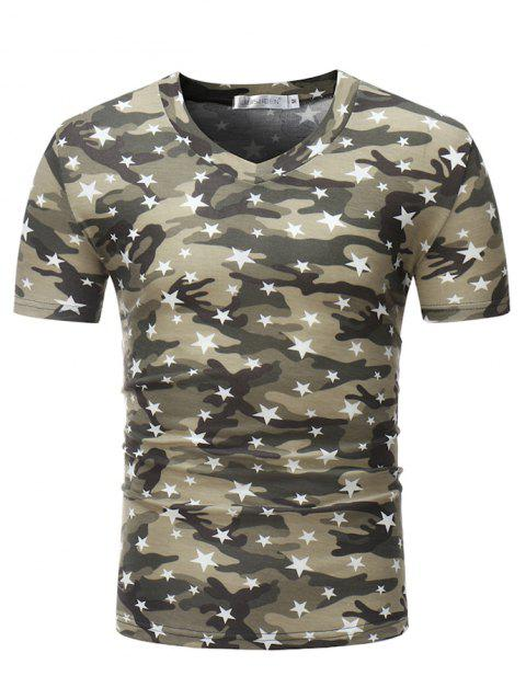 Stylish Cotton V-neck Short Sleeve T-shirt for Men - ARMY GREEN 2XL