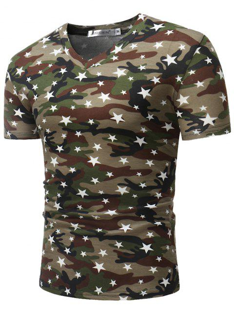 Stylish Cotton V-neck Short Sleeve T-shirt for Men - COFFEE L