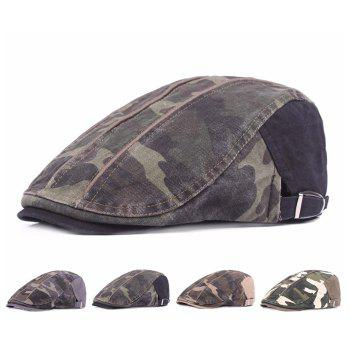 Camouflage Male Female Cap Outdoor Visor Washed Cotton Cloth Beret - ARMY GREEN