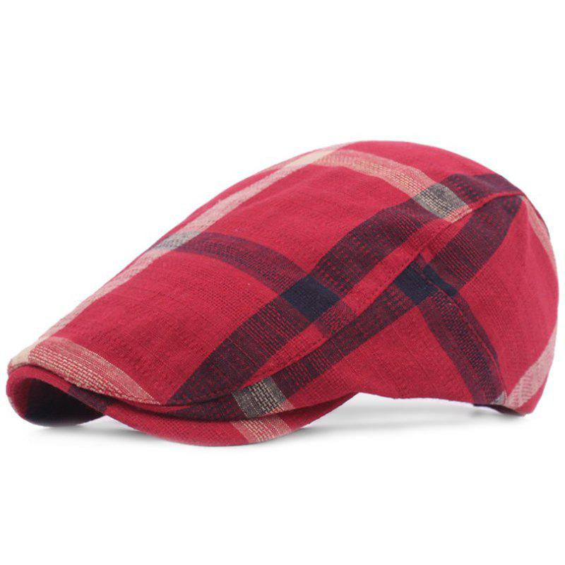 Women Grid Cotton Casual Breathable Outdoor Visor Forward Hat Flat Cap Beret - RED