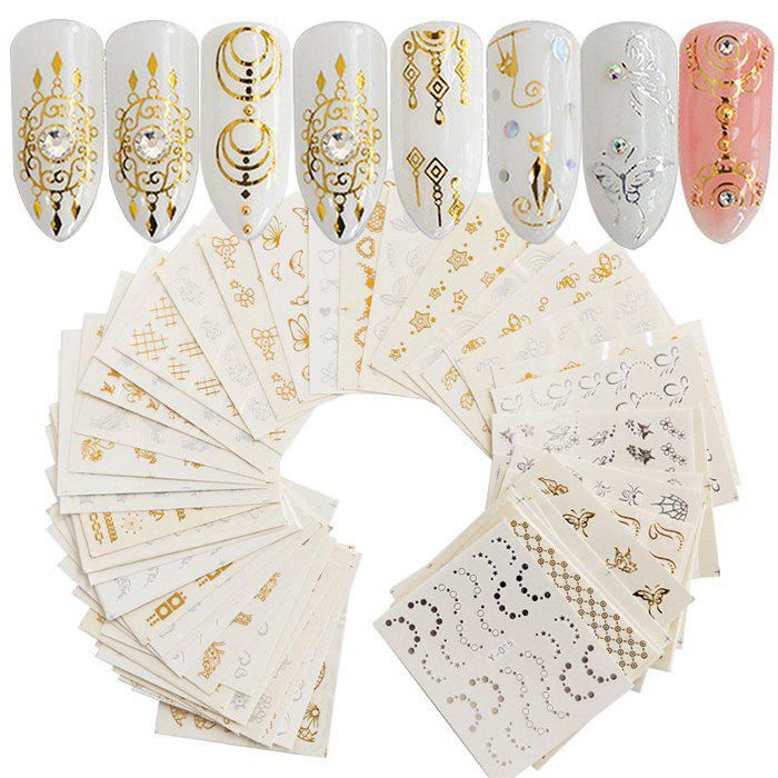 Fashion DIY Decoration Nail Sticker Gold and Silver Embossed 30PCS - multicolor B